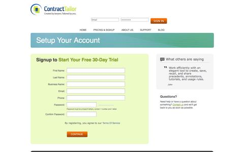 Screenshot of Signup Page contracttailor.com - Contract Tailor - Sign Up - captured Nov. 1, 2014