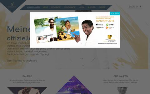 Screenshot of Home Page sydney-youngblood.com - SYDNEY YOUNGBLOOD - OFFIZIELLE WEBSEITE - captured Oct. 29, 2018