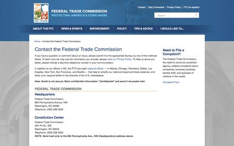 Screenshot of Contact Page ftc.gov - Contact the Federal Trade Commission   Federal Trade Commission - captured Sept. 18, 2014