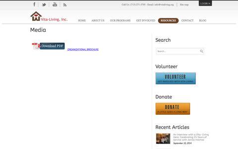 Screenshot of Press Page vitaliving.org - Vita-Living  » Media - captured Oct. 26, 2014