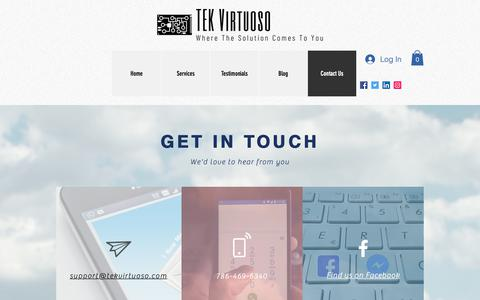 Screenshot of Contact Page tekvirtuoso.com - Contact Us | TEK Virtuoso - captured Nov. 7, 2018