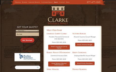 Screenshot of Team Page clarkeinsurance.com - Staff | Clarke Insurance Agency - captured Oct. 2, 2014