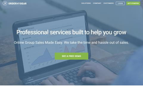 Screenshot of Services Page ordermygear.com - OrderMyGear - Professional services built to help you grow - Online Group Sales Made Easy. We take the time and hassle out of sales. - captured July 13, 2018