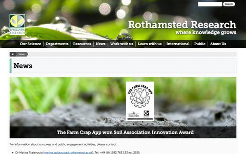 Screenshot of Press Page rothamsted.ac.uk - News | Rothamsted Research - captured Oct. 26, 2014