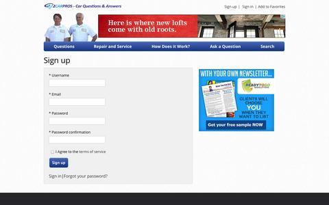Screenshot of Signup Page 2carpros.com - Sign up - 2Carpros - captured Oct. 27, 2014