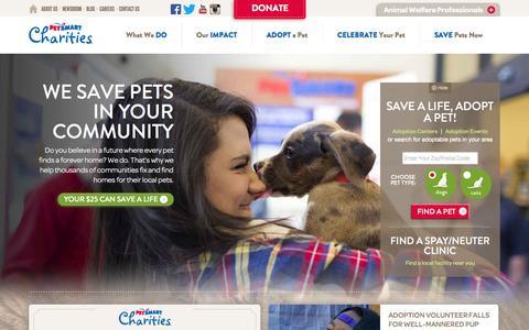 Screenshot of Home Page petsmartcharities.org - PetSmart Charities - captured Sept. 20, 2015