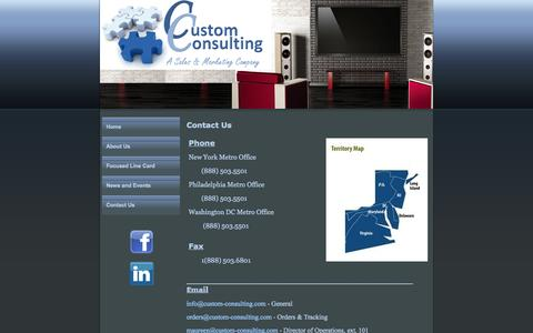 Screenshot of Contact Page custom-consulting.com - Custom Consulting, Custom Consulting New York, NY Contact Us - captured Sept. 30, 2014