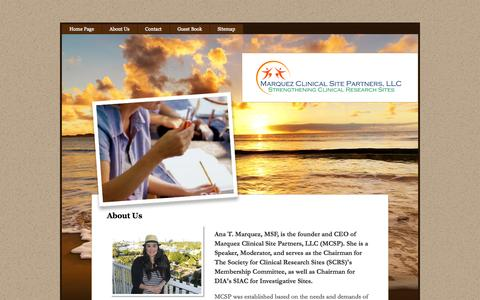 Screenshot of About Page clinicalsitepartners.com - About Us - captured Oct. 3, 2014