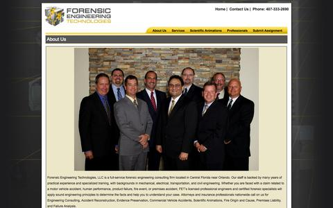 Screenshot of About Page fet-eng.com - About Forensic Engineering Technologies LLC a full-service engineering consulting firm offering a wide range of services - captured Oct. 6, 2014