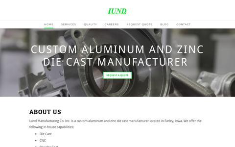 Screenshot of Home Page lund-diecast.com - Lund Manufacturing - Lund Manufacturing Home - captured Sept. 30, 2018