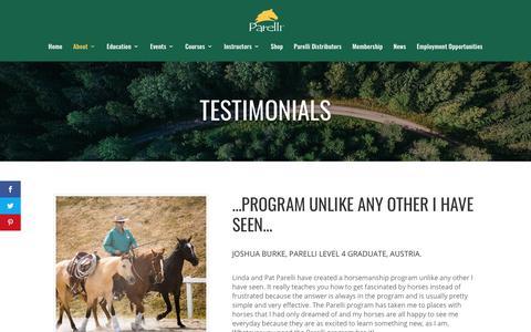 Screenshot of Testimonials Page parelli.com - Testimonials - Parelli Horse Training - captured March 22, 2019