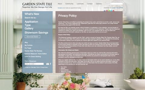 Screenshot of Privacy Page gstile.com - Privacy Policy - Garden State Tile - captured Nov. 1, 2014