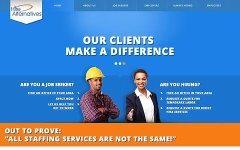 Screenshot of Home Page hirealternatives.com - Hire Alternatives | We Make A Difference! - captured Sept. 28, 2018