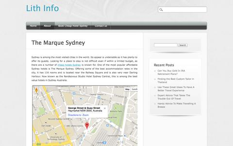 Screenshot of About Page lithinfo.com - The Marque Sydney - Cheap Hotels in Sydney Australia - captured Oct. 4, 2014