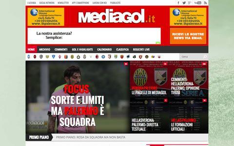 Screenshot of Home Page mediagol.it - MEDIAGOL PALERMO CALCIO   Notizie Palermo Calciomercato Serie A   Mediagol.it - captured Sept. 19, 2014