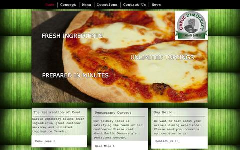 Screenshot of Home Page garlicdemocracy.com - Garlic Democracy Italian Eatery - captured Sept. 30, 2014