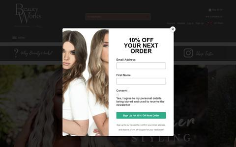 Screenshot of Home Page beautyworksonline.com - Award-Winning Human Hair Extensions | Hair Extensions Range | Beauty Works - captured July 13, 2018