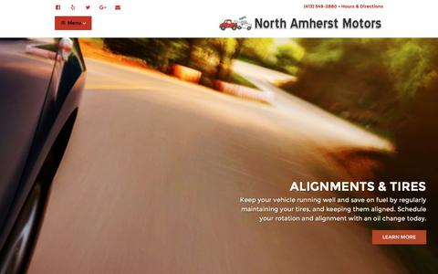 Screenshot of Home Page northamherstmotors.com - North Amherst Motors - Collision • Mechanical • Rental - Service in Hadley, Pelham, Shutesbury, Sunderland, Leverett, Deerfield, Hatfield - North Amherst Motors - captured Aug. 18, 2016