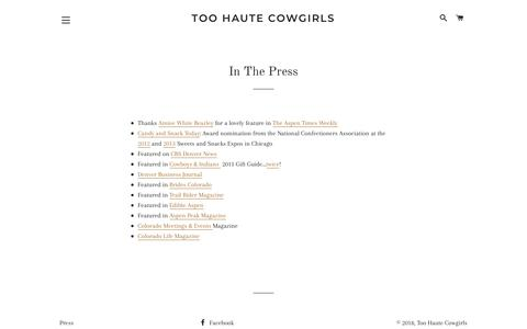 Screenshot of Press Page toohautecowgirls.com - In The Press – Too Haute Cowgirls - captured Dec. 11, 2018