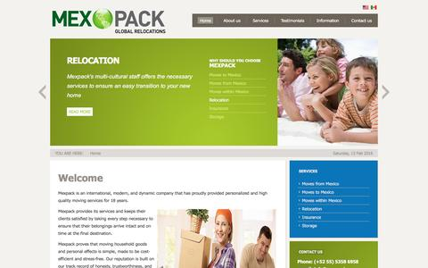 Screenshot of Home Page mexpack.com - MexPack - global relocation - captured Feb. 13, 2016