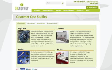 Screenshot of Case Studies Page goengineer.com captured Dec. 5, 2015
