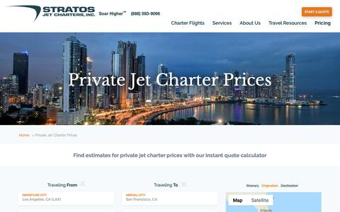 Screenshot of Pricing Page stratosjets.com - Private Jet Charter Prices | Stratos Jet Charters, Inc. - captured Oct. 19, 2018