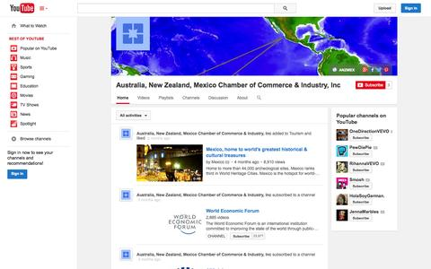 Screenshot of YouTube Page youtube.com - Australia, New Zealand, Mexico Chamber of Commerce & Industry, Inc  - YouTube - captured Oct. 23, 2014