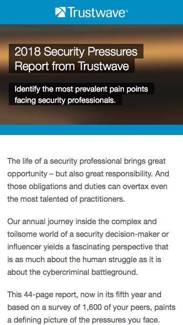 2018 Security Pressures Report from Trustwave