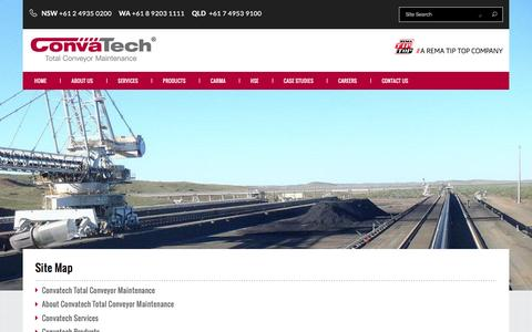Screenshot of Site Map Page convatech.com.au - Convatech - Total Conveyor Belt Maintenance, Conveyor Rollers, Cleaners and components. - site map - captured July 16, 2016