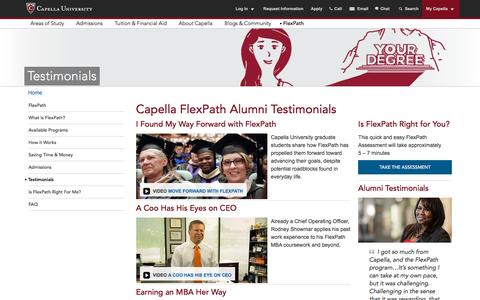 Screenshot of Testimonials Page capella.edu - Testimonials - FlexPath - captured Nov. 25, 2015