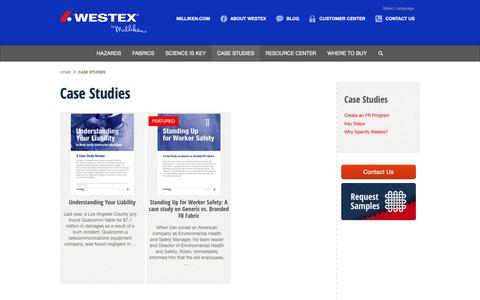 Screenshot of Case Studies Page westex.com - Case Studies On Fabrics Impact On Workers Safety | Westex by Milliken - captured Oct. 20, 2018