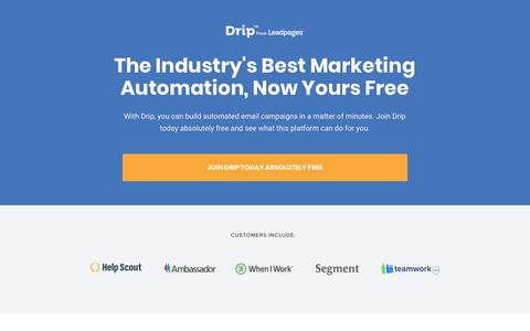 Screenshot of Landing Page drip.com - The Best Marketing Automation, Now Free - captured March 5, 2018