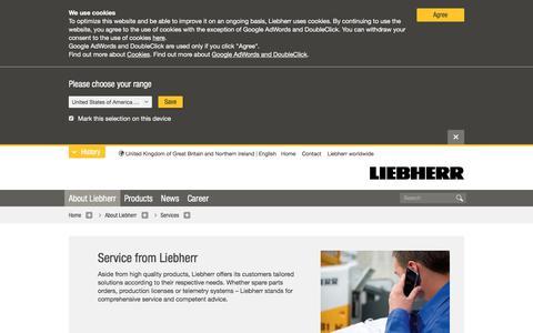 Screenshot of Services Page liebherr.com - Services - Liebherr - captured July 10, 2019