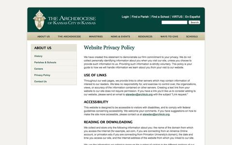 Screenshot of About Page Privacy Page archkck.org - Privacy Policy - captured Oct. 8, 2017