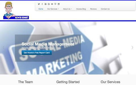 Screenshot of Home Page howiedunnit.com - Internet Marketing | Consulting | Social Media | Videos - captured Oct. 3, 2014