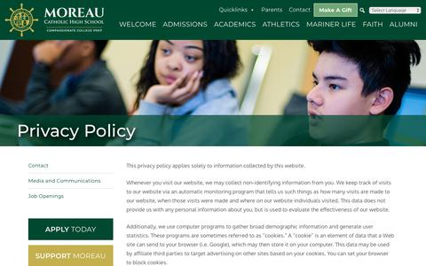 Screenshot of Privacy Page moreaucatholic.org - Privacy Policy - Moreau Catholic High School - captured Oct. 18, 2018