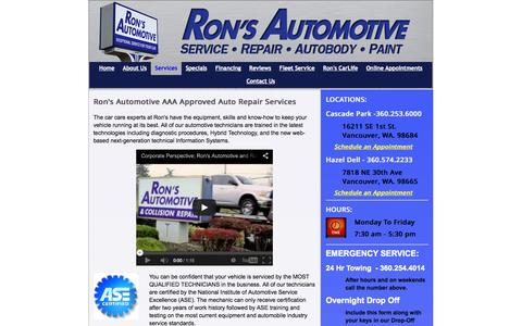 Screenshot of Services Page ronsautomotive.com - Auto Repair Services - Ron's AutoBody & Collision - captured Oct. 6, 2014