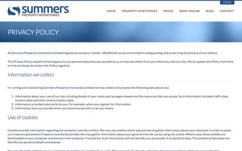 Screenshot of Privacy Page summersproperty.com - Summers Property Inventories - Privacy Policy - captured Oct. 6, 2014
