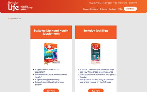 Screenshot of Products Page berkeleylife.com - Products - Berkeley Life - captured July 12, 2019