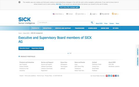 Screenshot of Team Page sick.com - SICK AG management | SICK - captured Feb. 7, 2019