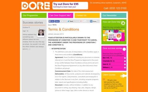Screenshot of Terms Page dore.co.uk - Terms - Dore - captured Oct. 5, 2014
