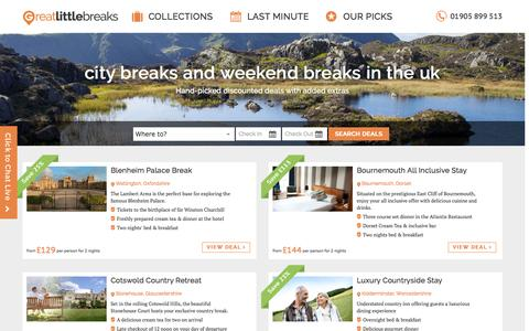 Screenshot of Home Page greatlittlebreaks.com - City Breaks and Weekend Breaks in the UK - captured Oct. 1, 2015