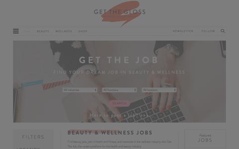 Screenshot of Jobs Page getthegloss.com - Beauty & Wellness Jobs - captured Dec. 9, 2015