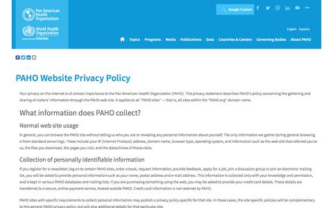 Screenshot of Privacy Page paho.org - PAHO WHO | PAHO Website Privacy Policy - captured March 25, 2017