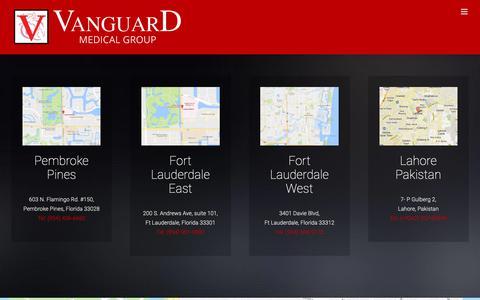 Screenshot of Locations Page vanguardmsg.com - Locations   Cardiac Diagnostic Testing   Vanguard Medical Group - captured Oct. 18, 2018