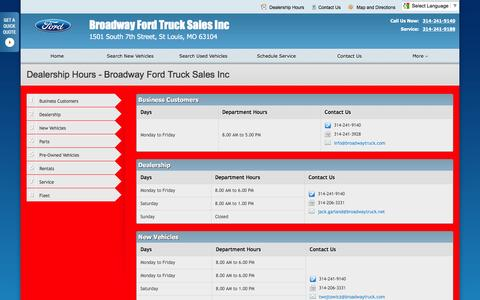 Screenshot of Hours Page broadwaytruck.net - Dealership Hours at Broadway Ford Truck Sales Inc - Your St Louis, Missouri Ford dealer - captured Feb. 8, 2016