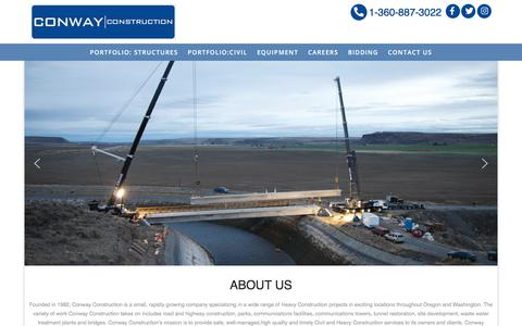 Screenshot of Home Page conwayconstruction.net - Conway Construction - captured Feb. 21, 2020