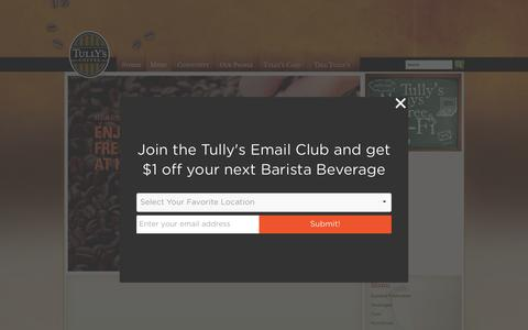 Screenshot of Menu Page tullyscoffeeshops.com - Tully's Coffee: A Fully Handcrafted Coffee Roaster! - captured Oct. 6, 2014