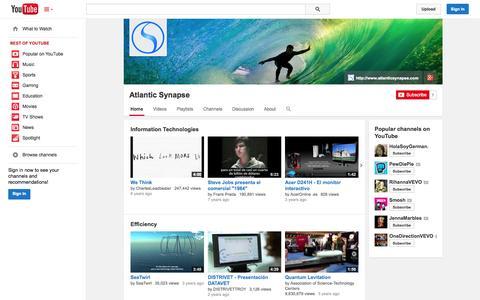 Screenshot of YouTube Page youtube.com - Atlantic Synapse  - YouTube - captured Oct. 23, 2014