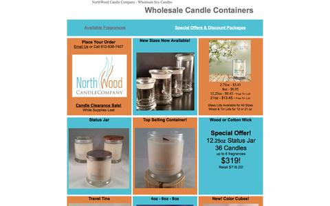 Screenshot of Pricing Page northwoodcandlecompany.com - Wholesale Candle Container Options - captured Aug. 14, 2016